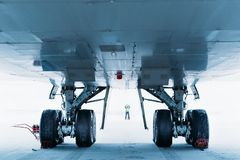 Chassis cargo aircraft Boeing 747. Airport In winter. stock photos