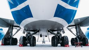 Chassis cargo aircraft Boeing 747. Airport In winter. stock photo