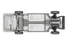 Chassis frame underbody, top view. Chassis frame dirt underbody, top view. 3D rendering Stock Photos