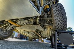 Chassis off road vehicle in the parking lot up on block to show Royalty Free Stock Photo