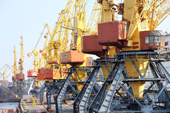 Chassis port cranes. Industrial port. Chassis port cranes Royalty Free Stock Images