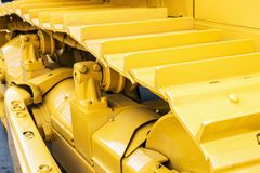 Chassis of the tractor and bulldozer. Construction machinery. Chassis of the tractor and bulldozer. different parts of Construction machinery Stock Photo