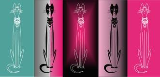 Chat égyptien de vecteur, fond différent Images stock