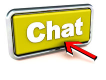 Chat. Online chat, conversation and messaging concept. chat word on a yellow button with a mouse pointer reaching out to click it Stock Image