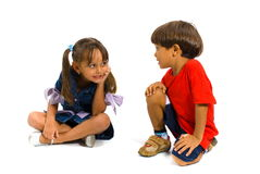 Chat. Boy and Girl talking on white background stock images