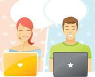 Chat. Internet chat women and men Stock Images