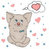 Chat affectueux mignon Carte romantique avec un coeur pour le jour du ` s de Valentine Illustration de vecteur dans le style de c photographie stock