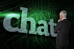 Chat against green and black circuit board Royalty Free Stock Image