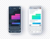 Free Chat App Screen In Light And Dark Mode, Gradient Text Box With Keyboard In Flat Style. Vector Mobile Phone Mock Up With Stock Photography - 163209302