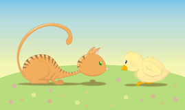 Chat avec l'oiseau Photos libres de droits