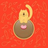 Chat avec la saucisse Images libres de droits