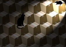 Chat avec la souris Photos stock