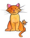Chat avec le chaton Image libre de droits