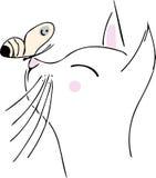 Chat avec le guindineau Images stock