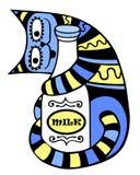 Chat avec une bouteille de lait illustration stock