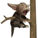 Chat baîllant sur un arbre Illustration de Vecteur