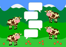 Chat background with cows on green fields. Vector illustration with four chat bubbles and cows Stock Photography