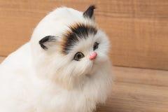 Chat blanc de poupée sur la table en bois, jouet de Cat Plush pour des enfants Image libre de droits
