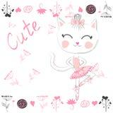 Chat blanc mignon de bande dessin?e dans le tutu de ballet, fille de minou dans une jupe rose illustration libre de droits