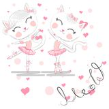 Chat blanc mignon de bande dessin?e dans le tutu de ballet, fille de minou dans une jupe rose illustration de vecteur