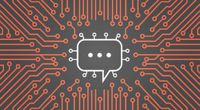 Chat-Blase über Computer-Chip Moterboard Background Social Media-Netz-Daten-System-Konzept-Fahne vektor abbildung