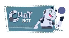 Chat Bot App Cute Robot Chatter Or Chatterbot Technical Support Service ConceptTemplate Banner With Copy Space. Flat Vector Illustration Royalty Free Stock Photos