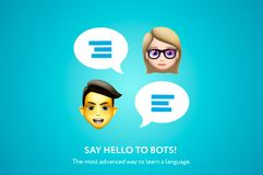 Chat bot banner concept for online learning language, vector illustration royalty free stock images