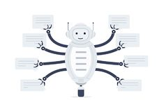 Chat bot with bubbles of speech in hands. Robot android on white background. Online Assistant Stock Image