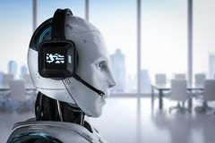 Chat bot concept. With 3d rendering humanoid robot with headset stock illustration