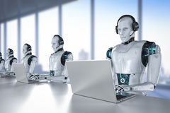 Chat bot concept. With 3d rendering humanoid robot with headset work on computer notebook vector illustration