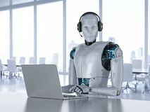 Chat bot concept. With 3d rendering humanoid robot with headset work on computer notebook stock illustration
