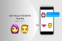 Chat bot concept with dialogue windows. Sms messenger, vector illustration stock images