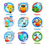 Chat Bot Flat Icons. With automatic program for support service, settings, learning, friendly communication isolated vector illustration vector illustration