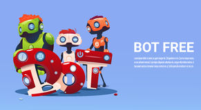 Chat Bot Free Robot Virtual Assistance Of Website Or Mobile Applications, Artificial Intelligence Concept. Flat Vector Illustration Royalty Free Stock Photography