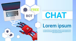 Chat Bot Hands Using Laptop Computer, Robot Virtual Assistance Of Website Or Mobile Applications, Artificial. Intelligence Concept Flat Vector Illustration vector illustration
