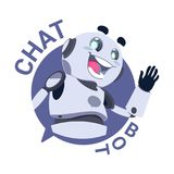 Chat Bot Icon Modile App Robot Chatter Or Chatterbot Technical Support Virtual Service Concept. Flat Vector Illustration Stock Photography