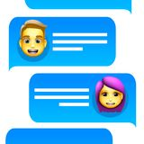 Chat bot man and woman emoji concept. Modern style cartoon character icon design. Dialog help service. Isolated on white royalty free stock photography