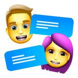 Chat bot man and woman emoji concept. Modern style cartoon character icon design. Dialog help service. Isolated on white stock photo