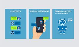 Chat bot robot mobile man hand people icons set royalty free illustration