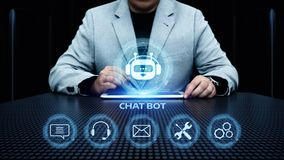 Chat bot Robot Online Chatting Communication Business Internet Technology Concept.  stock image