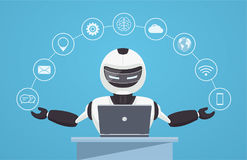 Free Chat Bot, Robot Virtual Assistance. Robot Sits Behind A Laptop Stock Images - 96140074