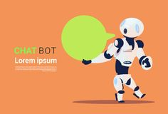 Chat Bot, Robots Virtual Assistance Element Of Website Or Mobile Applications, Artificial Intelligence Concept. Flat Vector Illustration Stock Image
