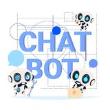 Chat Bot Service Banner Modern Technology Of Technical Support Chatter Robot Concept. Flat Vector Illustration Royalty Free Stock Image