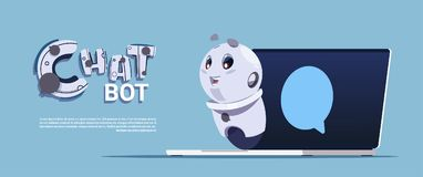 Chat Bot Service Cute Robot In Laptop Computer Template Banner With Copy Space, Chatter Or Chatterbot Technical Support. App Concept Flat Vector Illustration Royalty Free Stock Image