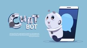 Chat Bot In Smart Phone Cute Robot Template Banner With Copy Space, Chatter Or Chatterbot Technical Support Service. Concept Flat Vector Illustration Royalty Free Stock Images
