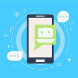 Chat Bot am Telefon Lizenzfreie Stockfotografie