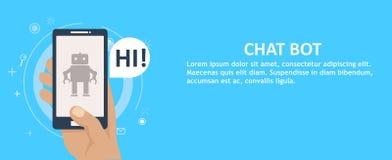 Chat Bot am Telefon in der Hand fahne Lizenzfreie Stockbilder