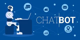Chat bot using laptop computer infographic stock illustration