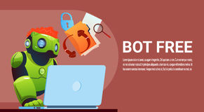 Chat Bot Using Laptop Computer, Robot Virtual Assistance Of Website Or Mobile Applications, Artificial Intelligence. Concept Flat Vector Illustration vector illustration
