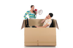 Chat box couple quarrel Stock Photography